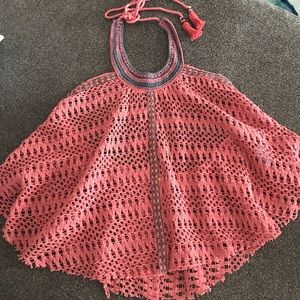 Free People pink crochet festival halter top